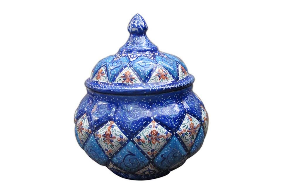 An Enameled sugar bowl created by Isfahani artists