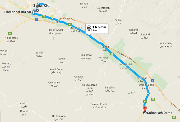 Map picture of Zanjan Daily Tour tour