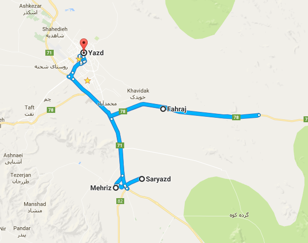 Map picture of Mehriz – Saaryazd - Fahraj Daily Tour tour