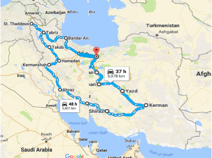 Map picture of A Discovery trip to Iran tour