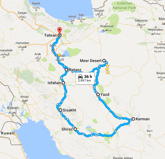 Map picture of 13 Days In Great Persia tour
