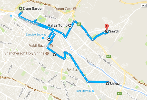 Map picture of Shiraz Daily Tour2 tour