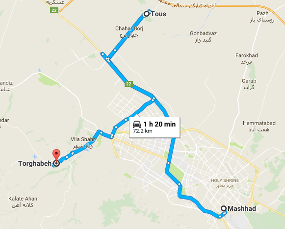 Map picture of Mashhad Daily Tour tour