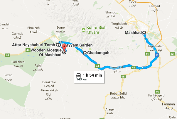 Map picture of Neyshabur Daily Tour tour