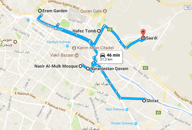 Map picture of Shiraz Daily Tour 1 tour