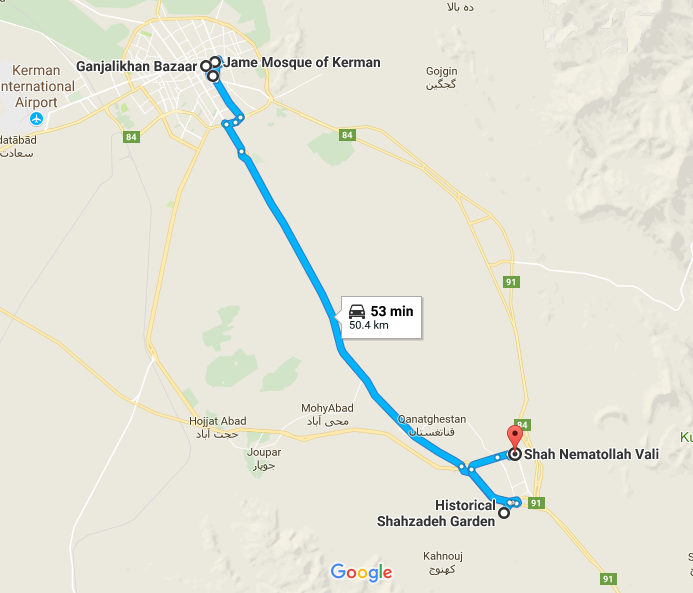 Map picture of Kerman Daily Tour1 tour