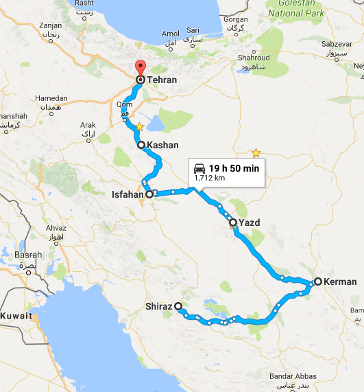 Map picture of The Glorious Iran tour