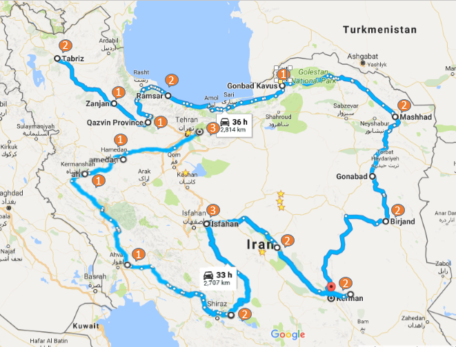 Map picture of Deep Excursion Through Iran tour